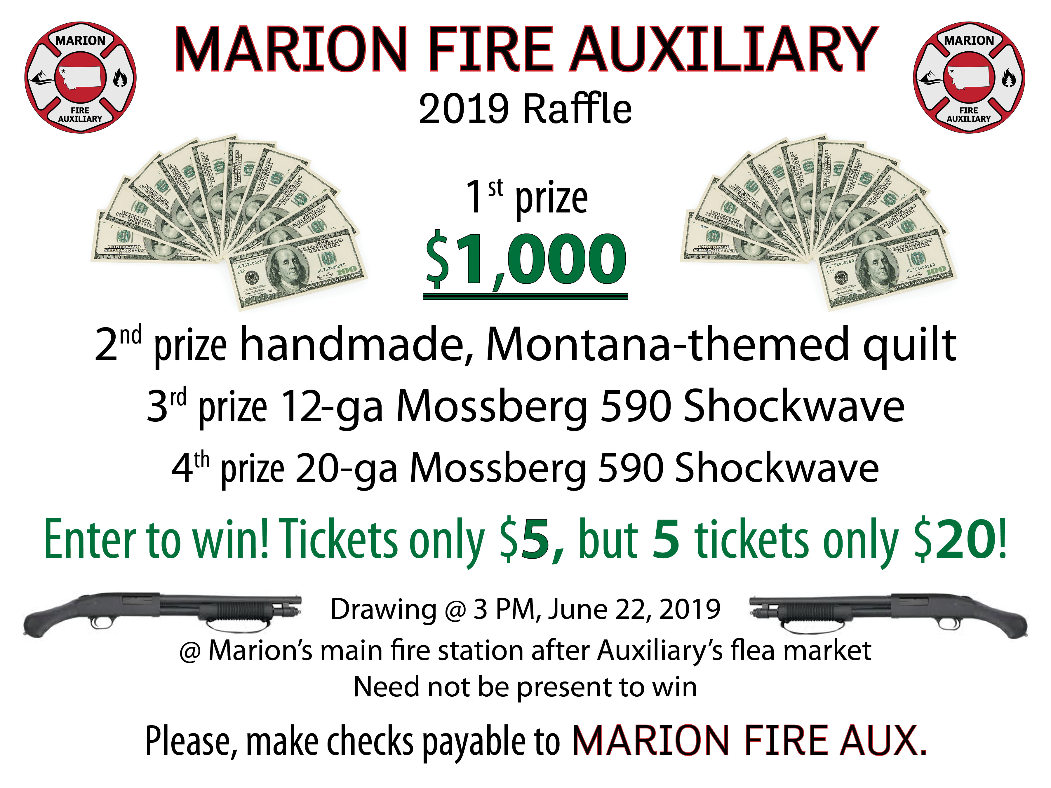 Prizes offered for Auxiliary's 2019 raffle: $1,000, quilt, firearms